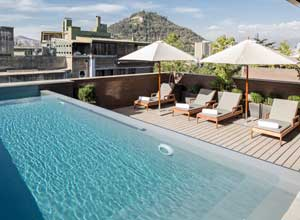 The rooftop pool at The Singular Santiago