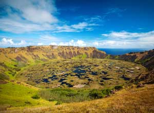 Rano Kau crater lake on Easter Island
