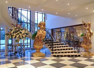 The staircase and lobby at The Oyster Box