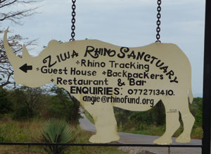 Rhino sanctuary sign
