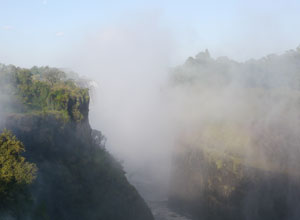 See the spray from Victoria Falls