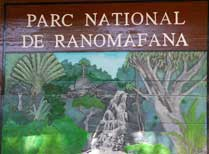 Ranomafana National Park sign